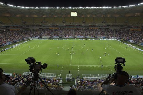 A general view of the Arena Amazonia Vivaldo Lima soccer stadium during the inaugural match between the Nacional and Remo clubs in Manaus, M