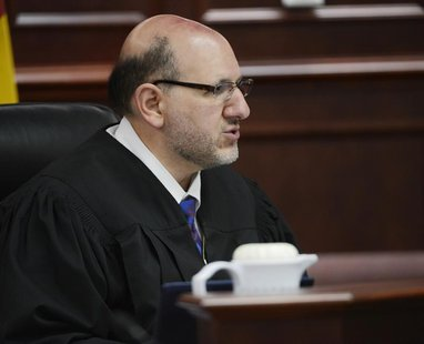 Judge Carlos A. Samour Jr. speaks during a hearing for Aurora theater shooting suspect James Holmes at the Arapahoe County Justice Center in
