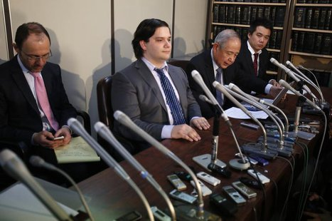 Mark Karpeles (2nd L), chief executive of Mt. Gox, attends a news conference at the Tokyo District Court in Tokyo February 28, 2014. REUTERS