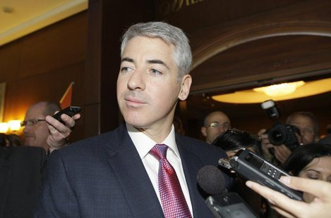 William Ackman, Chief Executive Officer of Pershing Square Capital Management LP talks to reporters before entering the AGM of Canadian Paci