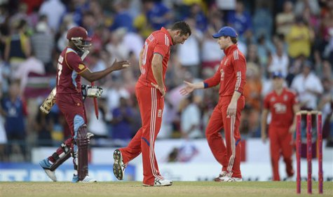 England's Tim Bresnan reacts after the West Indies won their second T20 international cricket match at Kensington Oval in Bridgetown, Barbad