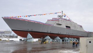 The USS Milwaukee, the U.S. Navy's fifth littoral combat ship, was built at Marinette Marine and launched into the Menominee River, Dec. 18, 2013. (Photo from: FOX 11)