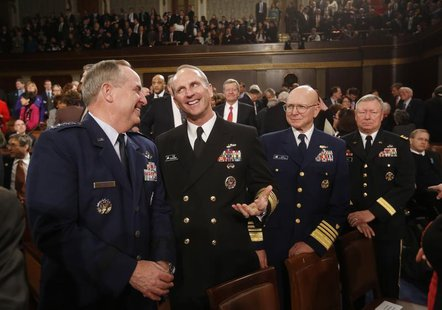Members of the joint chiefs of staff, Air Force Chief of Staff, General Mark Welsh (L); Chief of Naval Operations, Admiral Jonathan W. Green