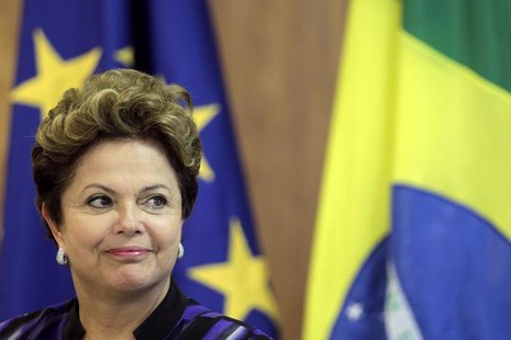 Brazil's President Dilma Rousseff reacts during a press statement after a meeting at the 6th European Union (EU)-Brazil summit at the Planal