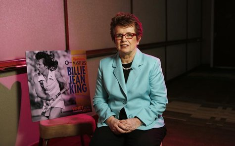 Former tennis player Billie Jean King is interviewed while promoting PBS's American Masters series in Beverly Hills, California August 6, 20