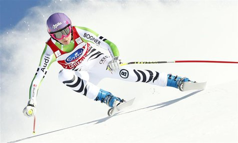 Germany's Maria Hoefl-Riesch skis during the women's downhill event during the FIS Alpine Skiing World Cup finals in the Swiss ski resort of