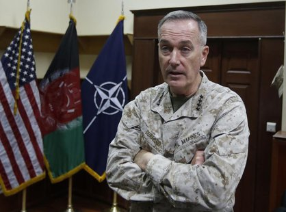 International Security Assistance Force (ISAF) commander General Joseph Dunford speaks during an interview in Kabul August 13, 2013. REUTERS