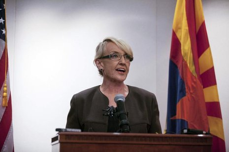 Arizona Governor Jan Brewer makes a statement saying she vetoed the controversial Senate Bill 1062 bill, at Arizona State Capitol in Phoenix