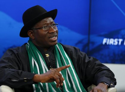 Nigeria's President Goodluck Jonathan speaks during a session at the annual meeting of the World Economic Forum (WEF) in Davos January 22, 2