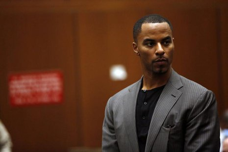 Former professional football player Darren Sharper appears for his arraignment at the Clara Shortridge Foltz Criminal Justice Center in Los