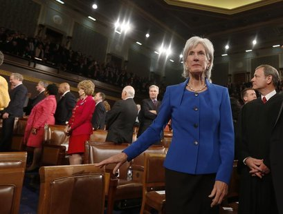 U.S. Department of Health and Human Services Secretary Kathleen Sebelius arrives before President Barack Obama's State of the Union speech o