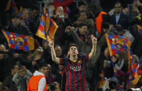 Barcelona's Lionel Messi celebrates after scoring a goal against Manchester City during their Champions League last 16 second leg soccer mat