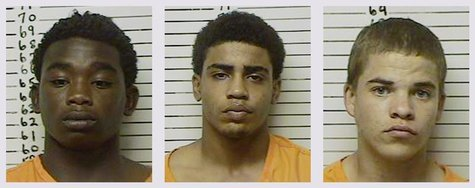 Combination photo shows three teenage boys L-R: James Francis Edwards Jr., 15, Chancey Allen Luna, 16, and Michael Dewayne Jones, 17, in Ste