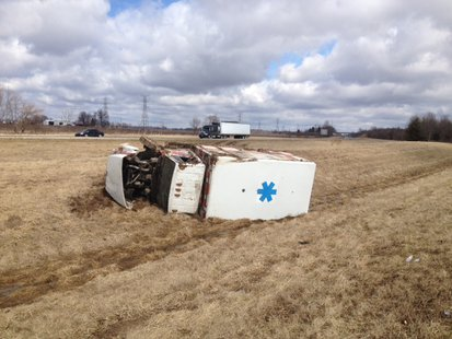 Sullivan County Ambulance Accident On I-70 3-12 photo provided by Indiana State Police