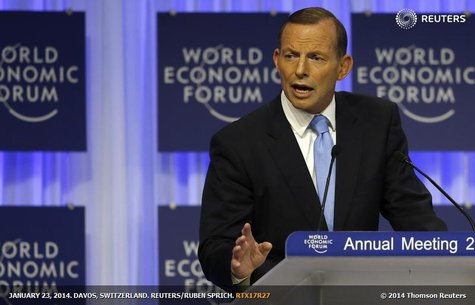 Australia's Prime Minister Tony Abbott speaks during a session at the annual meeting of the World Economic Forum (WEF) in Davos January 23,