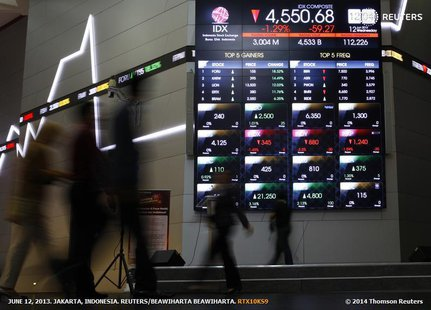 Indonesian traders walk in front of an Indonesia Stock Exchange board in Jakarta, June 12, 2013. REUTERS/Beawiharta