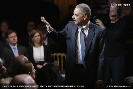 "U.S. Attorney General Eric Holder arrives for a television taping of ""In Performance at the White House: Women of Soul"" in Washington March"