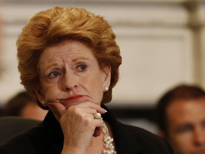 Senator Debbie Stabenow (D-MI), the chairwoman of the Senate Agriculture Committee, listens to testimony from witnesses in hearings concerni