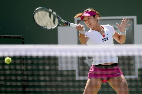 Mar 10, 2014; Indian Wells, CA, USA; Li Na (CHN) during her match against Karolina Pliskova (CZE) during the BNP Paribas Open at the Indian