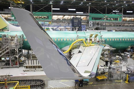 The winglet of a Boeing 737 jetliner is pictured during a tour of the Boeing 737 assembly plant in Renton, Washington February 4, 2014. REUT