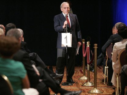 Nelson Peltz, one of the principles of the Trian Group, addresses the audience at the H.J. Heinz Co. annual shareholder's meeting in Pittsbu