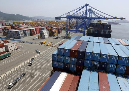 Trucks used to transport containers are seen at the Hanjin Shipping container terminal at the Busan New Port in Busan, about 420 km (261 mil