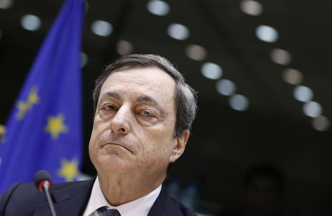 European Central Bank (ECB) President Mario Draghi waits for the start of the European Parliament's Economic and Monetary Affairs Committee