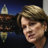 Newly elected Lockheed Chairman Marillyn Hewson comments during an interview with Reuters in Washington, December 16, 2013. REUTERS/Stelios