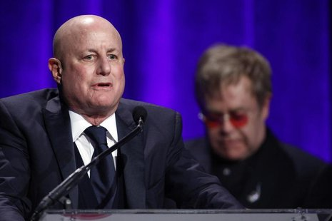 "Ronald Perelman speaks after he received his award during the Elton John AIDS Foundation's 12th Annual ""An Enduring Vision"" benefit gala at"