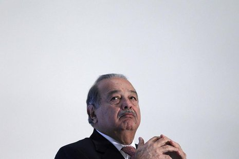 Mexican billionaire Carlos Slim attends the presentation of a digital platform to promote Mexico's natural heritage inside Soumaya museum in