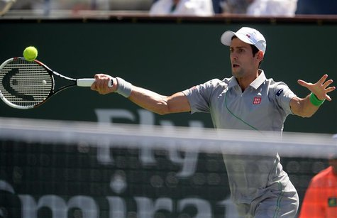 Mar 14, 2014; Indian Wells, CA, USA; Novak Djokovic (SRB) during his match against Julien Benneteau (not pictured) at the BNP Paribas Open a