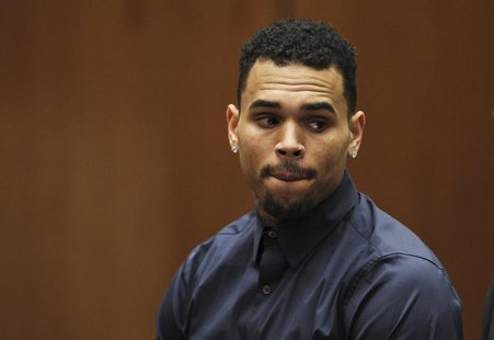Singer Chris Brown appears for a probation progress hearing at the Clara Shortridge Foltz Criminal Justice Center in Los Angeles, California