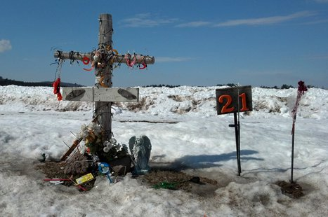 A memorial to Dylan Thorne, who was killed in a 2012 crash, is seen along Hwy. E in the Waupaca County town of St. Lawrence, March 14, 2014. (Photo from: FOX 11)