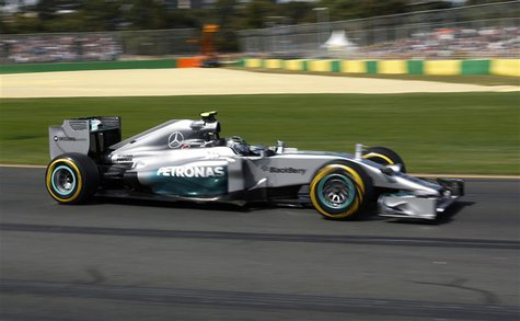 Mercedes Formula One driver Nico Rosberg of Germany drives during the third practice session of the Australian F1 Grand Prix at the Albert P