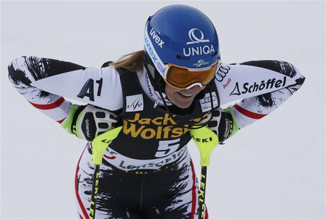 Marlies Schild of Austria reacts in the finish area during the first run of the women's slalom at the FIS Alpine Skiing World Cup Finals in