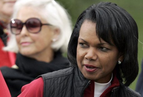 Former U.S. Secretary of State Condoleeza Rice attends the closing ceremonies of the Presidents Cup golf tournament in San Francisco, Califo