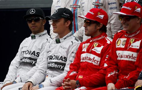 (L-R) Mercedes Formula One driver Lewis Hamilton of Britain, Mercedes Formula One driver Nico Rosberg of Germany, Ferrari Formula One driver