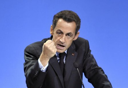 France's President Nicolas Sarkozy delivers the closing speech of an European conference on combating Alzheimers disease and related disease