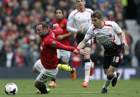 Liverpool's Jon Flanagan (R) pulls back Manchester United's Wayne Rooney during their English Premier League soccer match at Old Trafford in