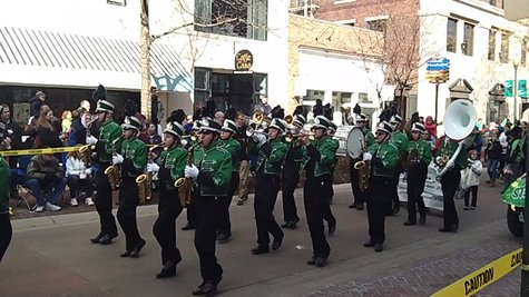 The Hackett High School Marching Band where they are Irish all year round.