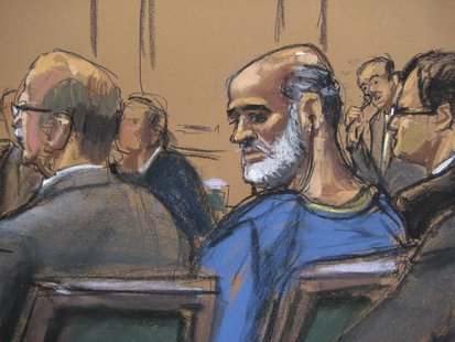 An artist sketch shows Suleiman Abu Ghaith, a son-in-law of Osama bin Laden and one of the highest-ranking al Qaeda figures to be brought to