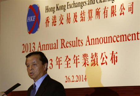 Hong Kong Exchanges & Clearing (HKEx) Chief Executive Charles Li speaks during a news conference announcing annual results in Hong Kong Febr
