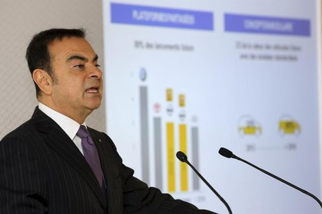 Carlos Ghosn, Chairman and Chief Executive Officer of Renault-Nissan Alliance, speaks during Renault's 2013 annual results presentation at t