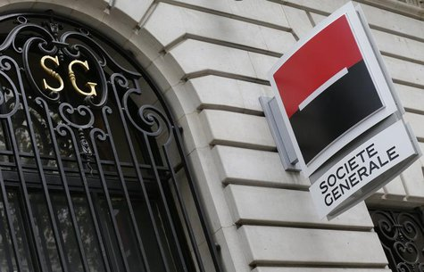 French bank Societe Generale logo is seen on the facade of a building in Paris, November 7, 2013. REUTERS/ Jacky Naegelen