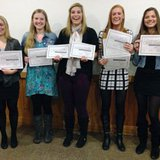 2014 Coldwater Girls Basketball season ending award winners: (L-R) Meghan Schorfhaar, Shelby Bowers, Jordan Shiery, Kenzie Galloway, and Carlee Smoker.