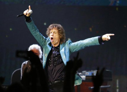 Mick Jagger of the Rolling Stones performs during their 14 on Fire concert at Marina Bay Sands in Singapore in this March 15, 2014 file phot