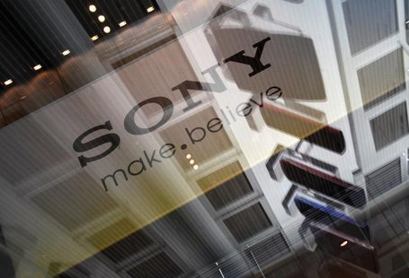 A logo of Sony Corp is pictured on a glass case reflecting the company's Walkman series, which are portable music players, at the lobby of t