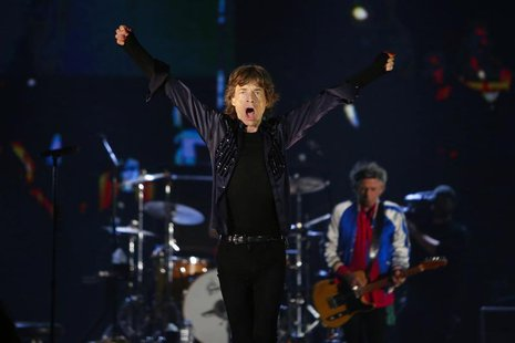 Mick Jagger of the Rolling Stones performs during their 14 on Fire concert at Marina Bay Sands in Singapore March 15, 2014. REUTERS/Tim Chon