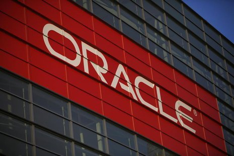 Oracle signage is seen outside Mocsone Center during Oracle OpenWorld 2012 in San Francisco, California in this October 1, 2012 file photogr