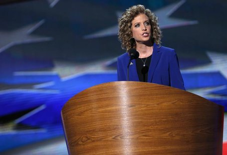 U.S. Rep. Debbie Wasserman Schultz (D-FL) addresses delegates during the final session of the Democratic National Convention in Charlotte, N